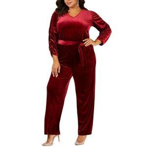 NY Collection 3XP Burgundy Velvet Jumpsuit 5AL40